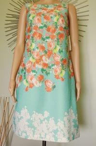 NWT DONNA RICCO MINT GREEN  FLORAL SIZE 4 SLVLESS